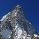 """Il tracciato di salita sullo Shiva, lungo la cresta nord est, passando dal """"Prow of Shiva"""", opera dei britannici Mick Fowler e Paul Ramsden"""